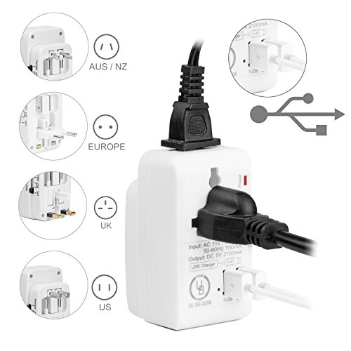 Yubi Power 2 USB Charging Port (2A) All in One Universal Worldwide Travel Wall Charger AC Power AU UK US EU Plug Adapter Adapter.