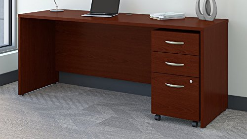 Bush Business Furniture SRC026MASU Series C 72W x 24D Office Desk with Mobile File Cabinet, Mahogany (Bush C Series 72)