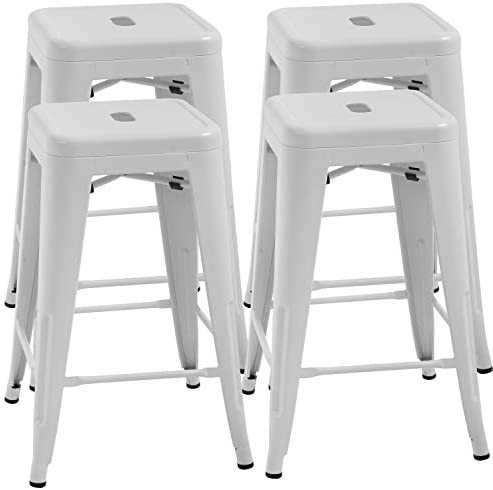 FDW Counter Height Bar Stools Set of 4 Metal Bar Stools 24 Inches Kitchen Counter Stool Industrial Metal Stool Patio Furniture Indoor Outdoor Stool Moden Stackable Barstools Restaurant Dining Chairs