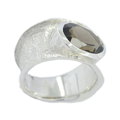 CaratYogi Genuine Smoky Quartz Promise Rings Oval Shape Sterling Silver Faceted Band Size 5.5 (Quartz Faceted Smoky Ring Oval)