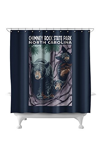 Chimney Rock State Park, NC - Bear and Cubs (71x74 Polyester Shower Curtain)