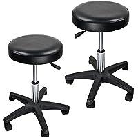 Adjustable Hydraulic Rolling Swivel Salon Stool Chair Tattoo Massage Facial Spa Stool Chair Black (PU Leather Cushion) (2PCS)
