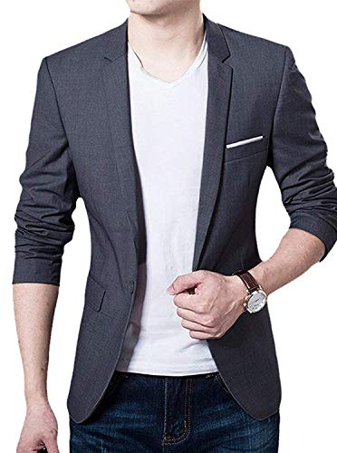 GEEK LIGHTING Sports Jackets for Men Slim Fit Single One Button Blazer(Gray,US S=Label 2XL)