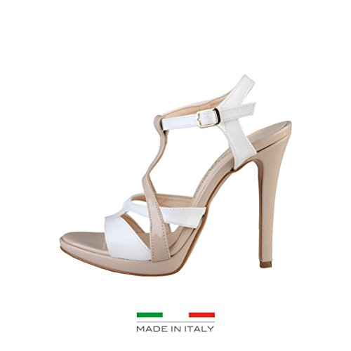 Made In Italia - IOLANDA Damen Sandalen T-Bar Fersen 10 cm, Plateau 1 cm Schwarz/Lachs