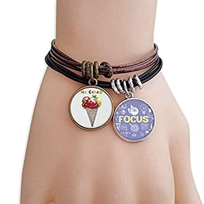 SeeParts Watercolor Leaves Cones Ice Cream Bracelet Rope Wristband Force Handcrafted Jewelry Estimated Price £9.99 -