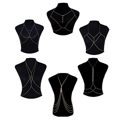Adramata 6Pcs Gold Body Chains Charm Layered Belly Chain Necklace for Women Bikini Shiny Body Chain Ladies Crossover Belly Body Waist Necklace Body Jewelry