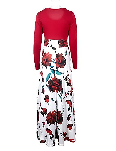 Dress Waist Red Casual Floral Short Print High Sleeve Long Ruici Women's Long 02 Maxi qpxRBwP