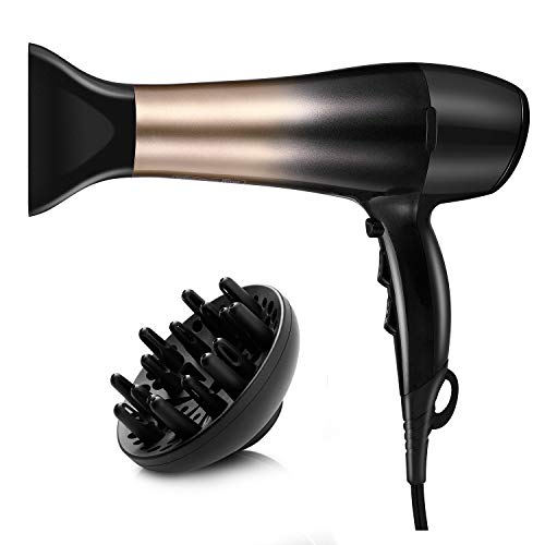 KIPOZI 1875W Hair Dryer, Nano Ionic Blow Dryer Professional Salon Hair Blow Dryer Lightweight Fast Dry Low Noise, with Concentrator, Diffuser, 2 Speed and 3 Heat Settings (Best Hair Dryer For Curly Hair)