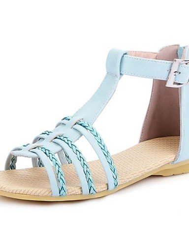 LFNLYX Zapatos de mujer-Tacón Plano-Mary Jane-Sandalias-Exterior / Casual-Semicuero-Negro / Azul / Morado Blue