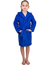 TowelSelections Big Girls Robe, Kids Hooded Cotton Terry Bathrobe Cover-up Size 12 Blue