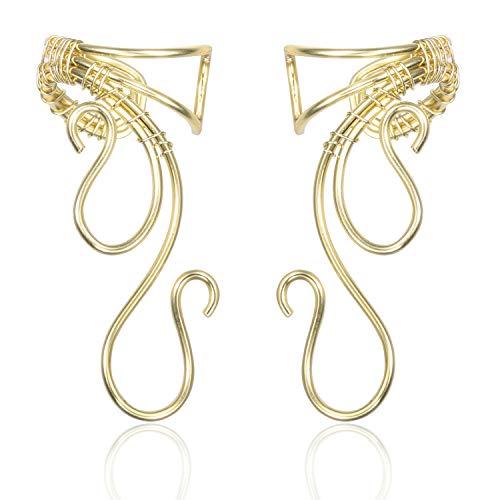 Elf Ear Cuffs Earrings, OwMell Ear Cuff No Piercing Ear Cuff Non Pierced Hypoallergenic Earrings Handmade Gold]()