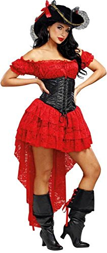 Dreamgirl Women's Pirate Wench, Red/Black, L