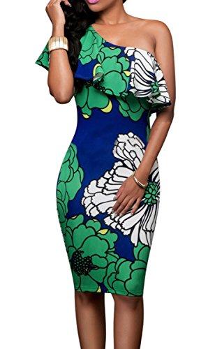 YiYaYo Womens Sexy Floral Print Ruffle One Shoulder Bodycon Club Midi Dress Green XL