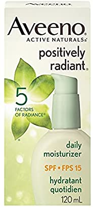 Aveeno Face Moisturizer SPF 15, Positively Radiant Daily Cream for Dark Spots, 120 Ml