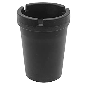 Self Extinguishing Cup Styled Ashtray w/Removable Lid Outdoor/Indoor Auto Ashtray Smokeless Odor Trapping Portable Durable Dishwasher Safe Material Black-Free Windproof Oil Lighter Included(No Fluid)