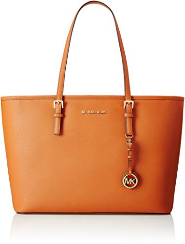 Michael Kors Jet Set Travel Large Saffiano Leather Top-Zip Tote, Bolso Totes para Mujer, 45 cm Arancione