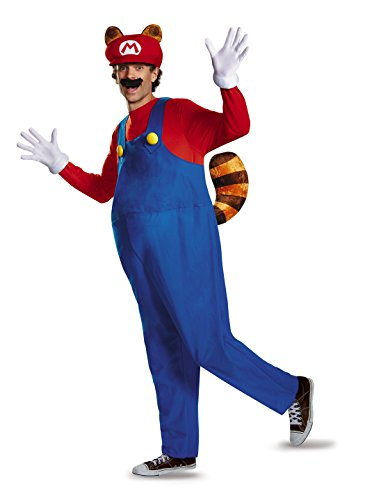 Mens Deluxe Mario Costumes (Disguise Men's Plus Size Super Mario Raccoon Deluxe Costume, Red, XX-Large)