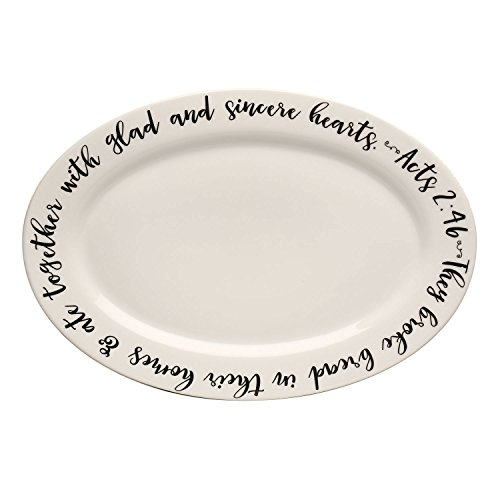 SOUTHERN WINSTON Oval Serving Platter - Ceramic Biblical Verse Quote They Broke Bread Act 2:46