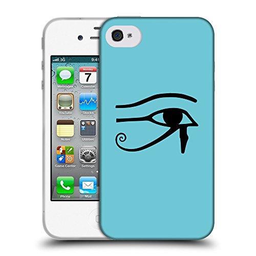 GoGoMobile Coque de Protection TPU Silicone Case pour // Q08160627 Horus oeil 1 Cyan // Apple iPhone 4 4S 4G