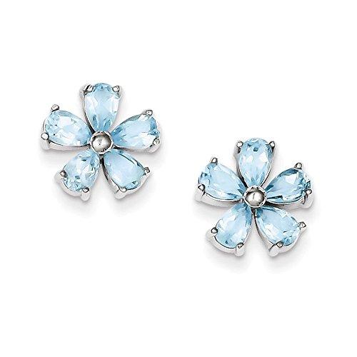 Sterling Silver Flower Blue Topaz Earrings
