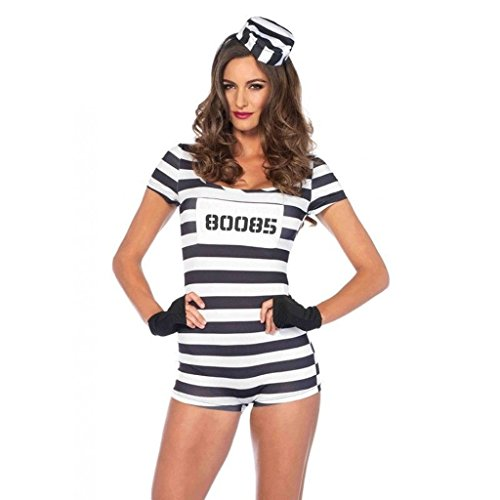 Womens Convict Prisoner Inmate Striped Romper Outfit Adult Halloween Costume Small