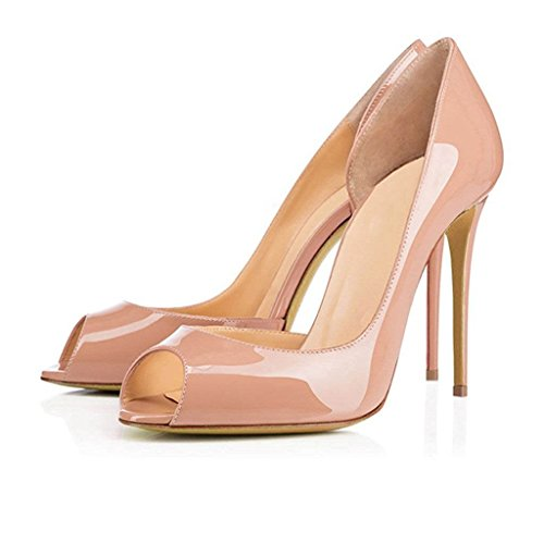 Juoar Women's Peep Toe D'Orsay&Two-Piece Pumps Patent Leather High Heels Big Size Slip-on Stilettos Shoes Patent Leather Nude US10