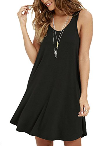 MOLERANI Women's Casual Swing Simple T-shirt Loose Dress, X-Large,  Black