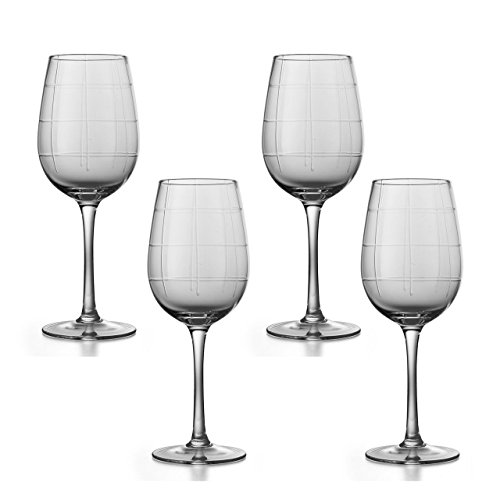 Coaster Wine Tall (Set Of 4 Elegant Shaped Long Stemmed Wine Glasses, Unique In-Glass Transparent Striping Enhances Any Table Setting, Included 4 White Pulpboard Coasters, 9-Inches Tall 15-Ounces Each)