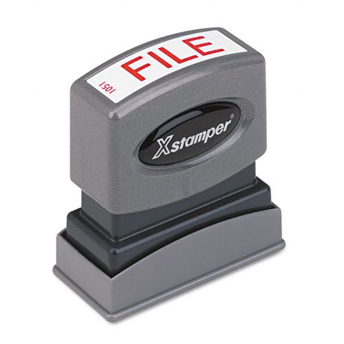 Xstamper One-Color Title Message Stamp, File, Pre-Inked/Re-Inkable, Red (1051)
