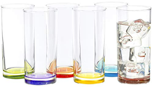 Highball Tumbler Clear Multi Colored Base Drinking Glass for Water, Juice, Beer, Whiskey, and Cocktails, 9.25 Ounce…