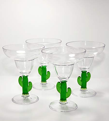 Nicole Miller Acrylic Margarita Cactus Drinking Glasses Cocktail Cups Set of Four Brand New Dishwasher Safe Indoor Outdoor Kitchen