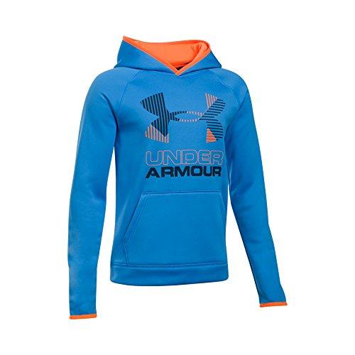 Under Armour Boys Scary Good Armour Fleece Solid Big Logo Hoodie, Mako Blue/Orange, X-Small / 7 Big Kids ()