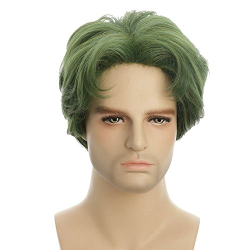 Karlery 5 Inches New Handsome Short Curly Men Fluffy Dark green Color Halloween Party Cosplay Hair Wig (Wigs Party City)