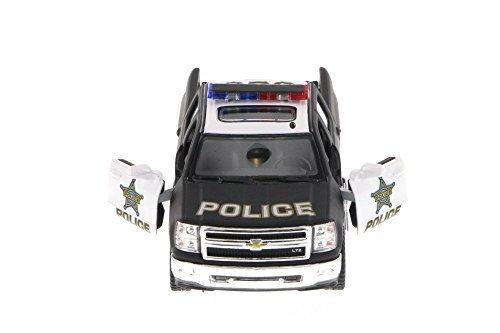 Kinsmart 2014 Chevy Silverado Police Pick-Up, Black & White 5381DP - 1/46 Scale Diecast Model Toy Car