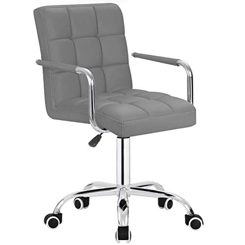 Furmax Mid-Back Office Task Chair,Ribbed PU Leather Executive Chair,Modern Adjustable Home Desk Chair, Comfortable Retro Work Chair,360 Swivel with Arms (Grey)