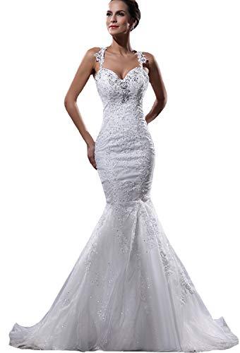 JOYNO BRIDE Organza Applique Shoulder Straps Floor Length Court Train Mermaid Wedding ()