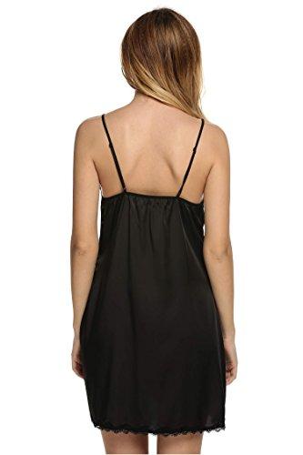 Ekouaer Women's Satin Lace Trim Slip Chemise Night Gown,Black,Small