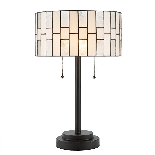 CO-Z 2-Light Tiffany Style Table Lamp, Art Glass Geometry Shape Table Lamp, UL Listed.(Cylinder Shade Tiffany Lamp)