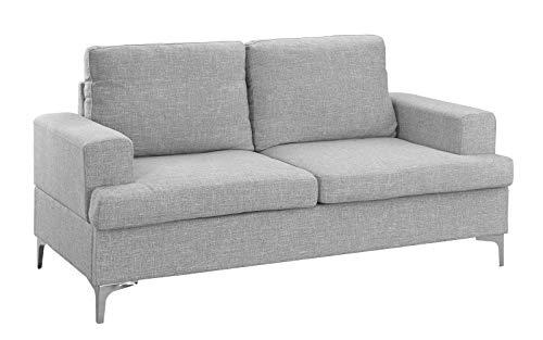 Mid Century Modern Linen Fabric Loveseat Couch Light Grey