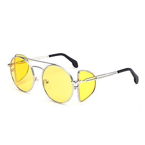 de Lunettes femmes de de protection soleil UV Style de de Punk Hommes personnalité en de métal vent Cadre soleil pour bordé des lunettes Lunettes rond de Jaune de pr soleil de coupe de soleil de lunettes de rrqp4Owx