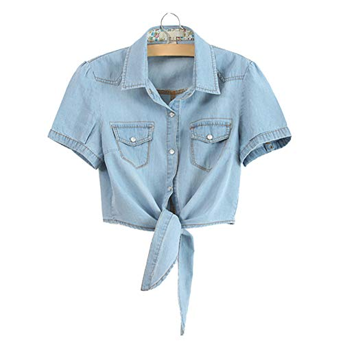 Cool Knotted Denim Shawl Coat Top Jacket Short Sleeve XS