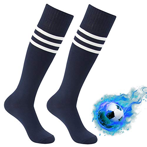 Workout Long Socks, Atrest Unisex Striped Knee Length Referee Athletic Outdoor Sports Training Socks Soccer Football Baseball Team Socks Navy+White Stripe 2 ()