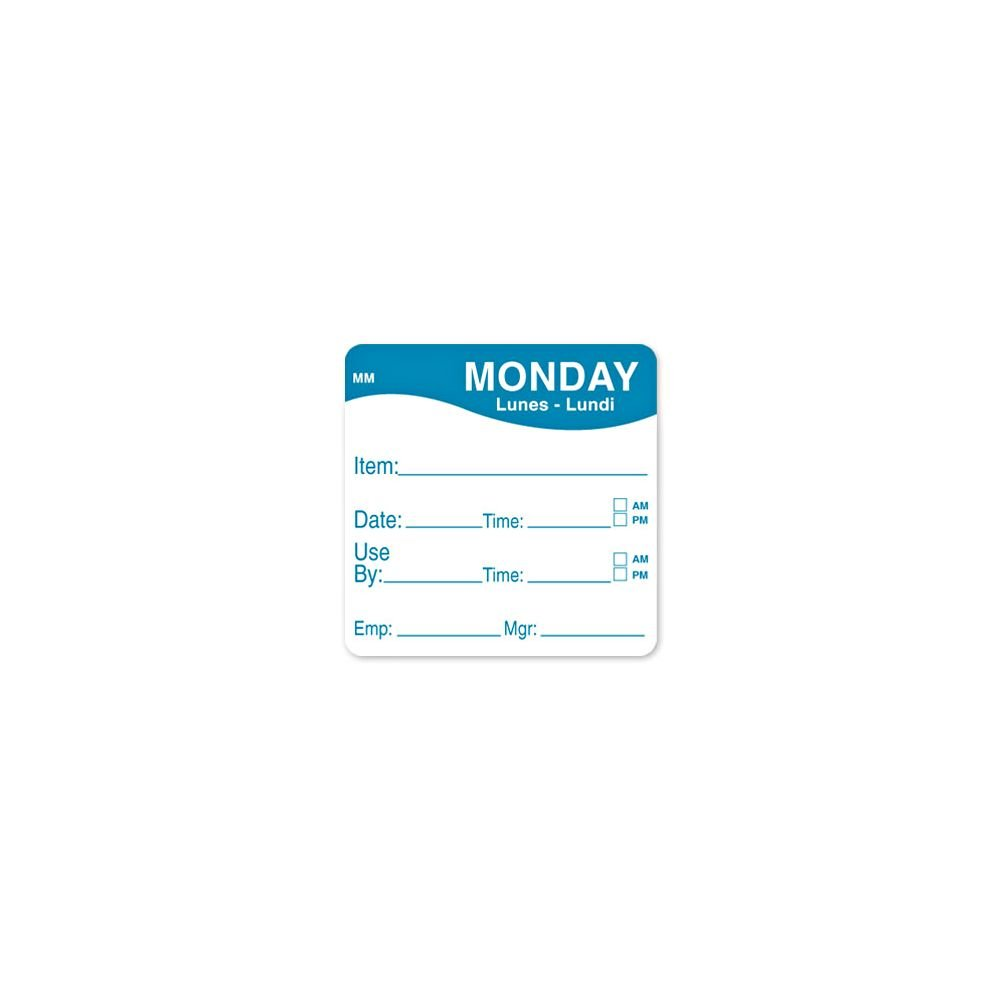 DayMark 1100351 MoveMark 2'' Monday Use By Day Square - 500 / RL