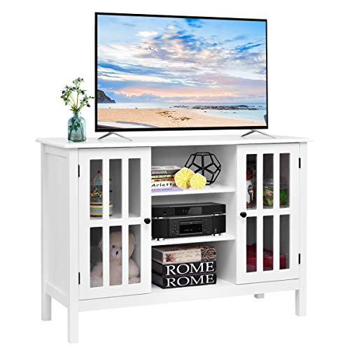 (Tangkula TV Stand, Classic Design Wood Storage Console Free Standing Cabinet for TV up to 45