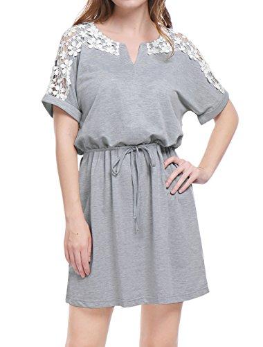Allegra Panneau Élastique K Dessus Floral Gray Taille Genou Robe Dame Jersey Dentelle fHfnrvgq