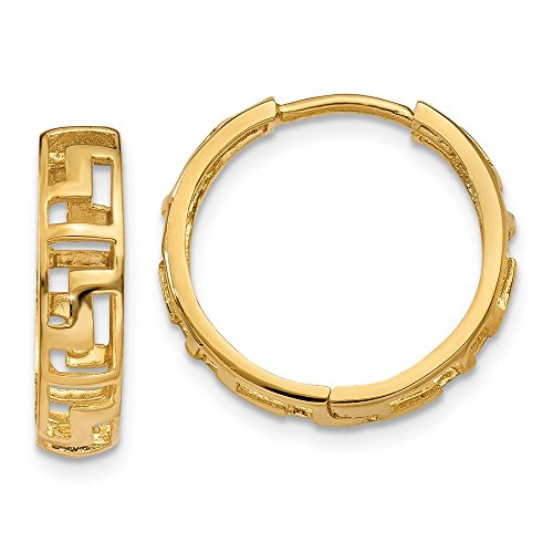 14k Yellow Gold Greek Key Hinged Hoop Huggie Earrings (15mm x ()