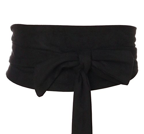 Aecibzo Women Bowknot Velvet Self Tie Wrap Around Obi Waist Band Cinch Boho Belt