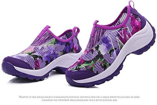 Deporte Eu Zapatos Transpirable Rocker Púrpura Mujer Para Zapatillas 40 Plataforma Estampado Tamaño Púrpura color Qiusa Flores De Con 8PxdwBqBZ