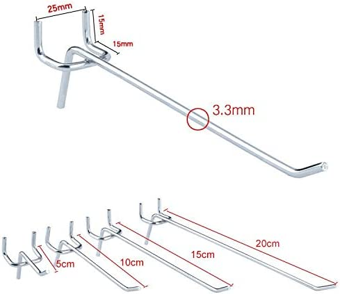 Repair tools,Completely fit and work 50 PCS Supermarket Clothing Shop Pegboard Slat Wall Hook Shelf Hole Plate Wire Diameter: 3.3mm,Scope of application: supermarkets Hole Pitch: 2.5cm Length: 20cm