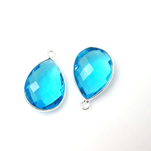 (Gemstone Pendant - Sterling Silver - 13x18mm Faceted Pear Shape - Blue Topaz (Sold Per 2 Pieces))